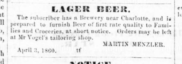 1860 ad for Menzler Brewery