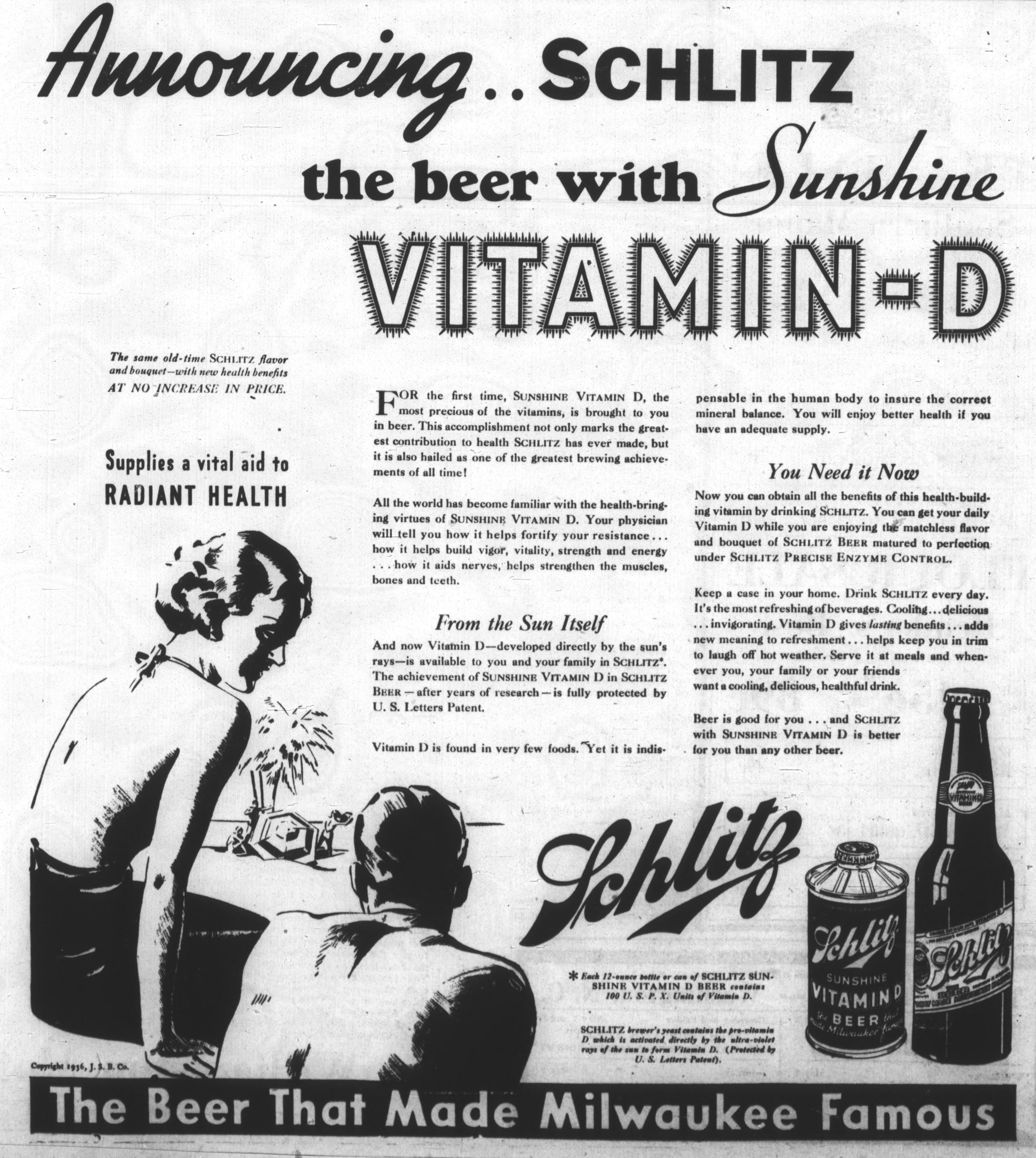 1936 ad for Schlitz beer