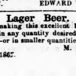 1867 ad for Menzler Brewery