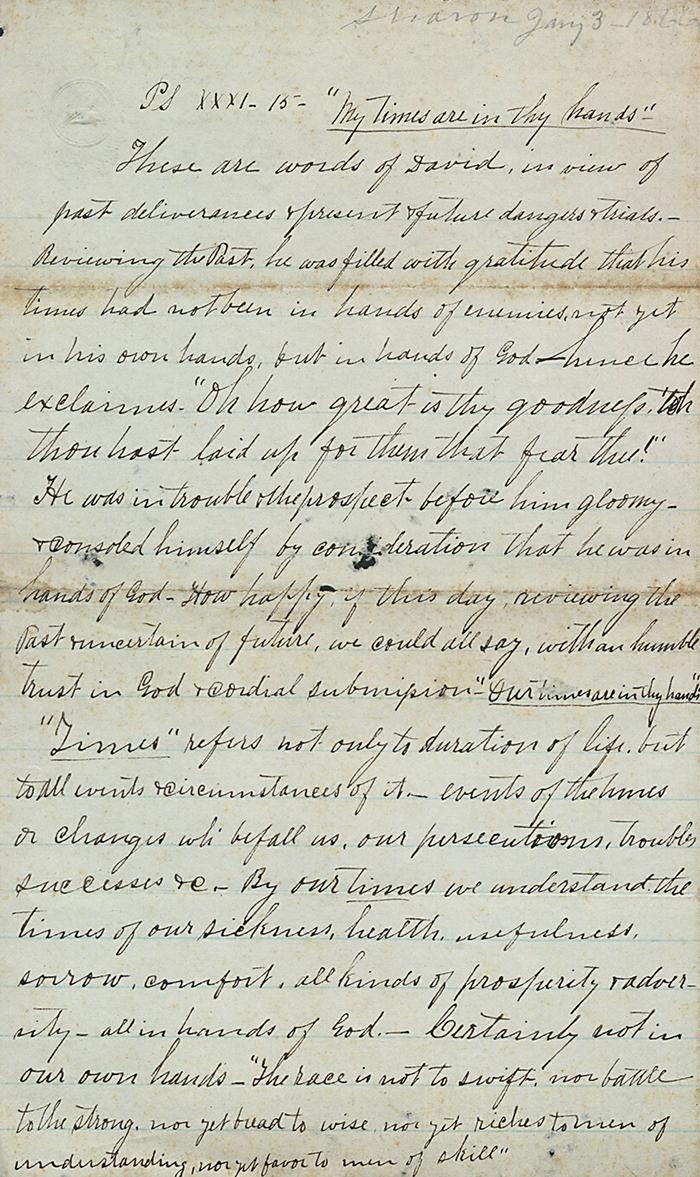 Sermon by Robert Zenas Johnson, 1866.
