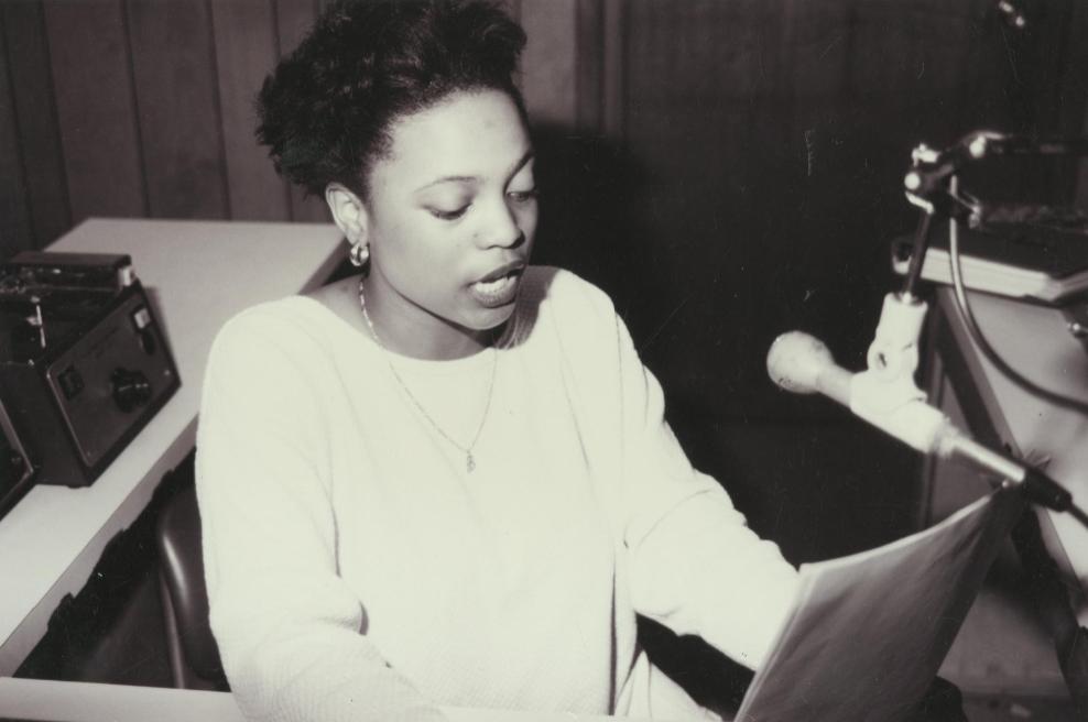 Radio Broadcasting Student ca. 1995, Central Carolina Community College.