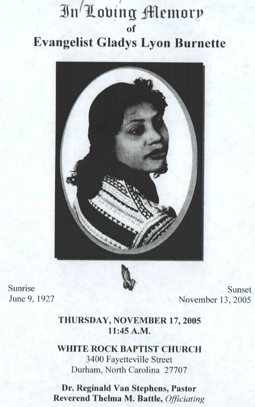 Cover of funeral program for Gladys Lyon Burnette