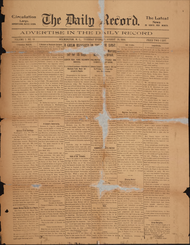 Front page of the Wilmington Daily Record, August 30, 1898