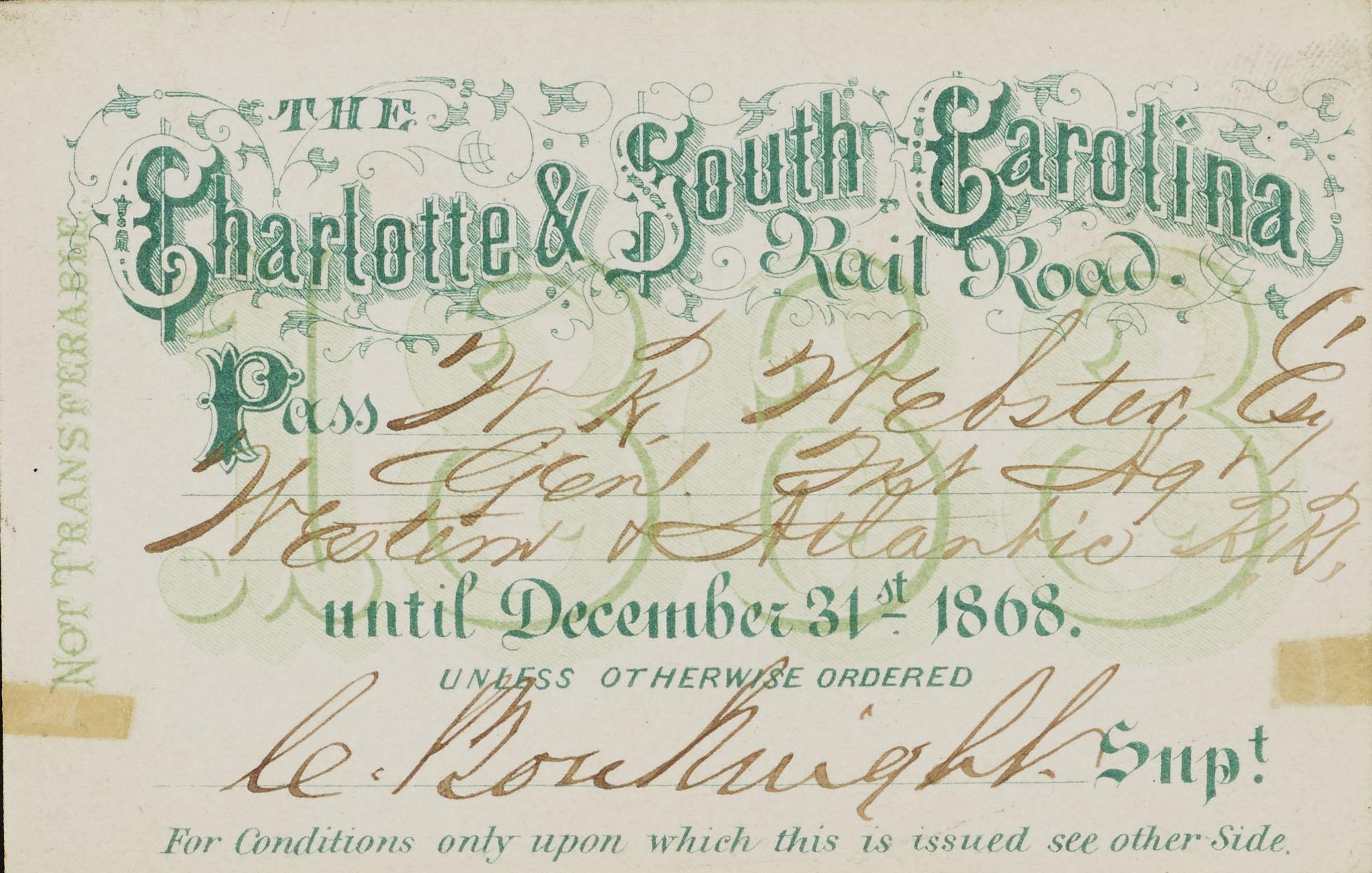 Charlotte and South Carolina Railroad pass