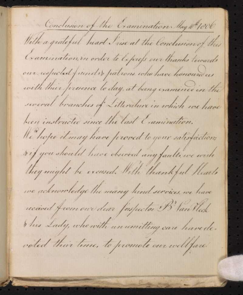 Old Salem Examination Book Excerpt, 1806