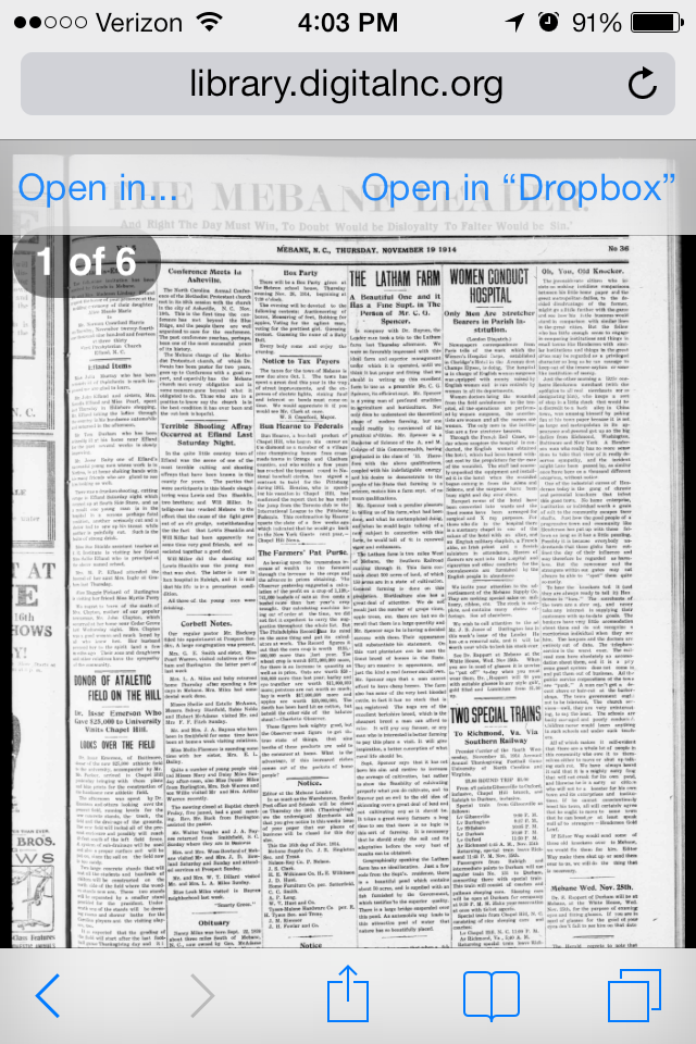 View of Newspaper on iPhone