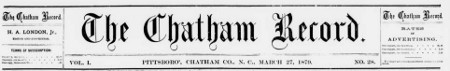 Early Newspapers from Chatham County Now Available Online