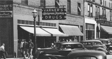South Broad and Jordan Streets, Brevard, N.C., Looking North, 1940