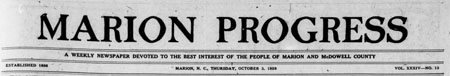 Historic Issues of the Marion Progress Now Available Online