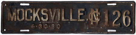 Mocksville License Plate, 1930