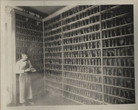 Racks of Brogans at the Oxford Orphanage, 1922