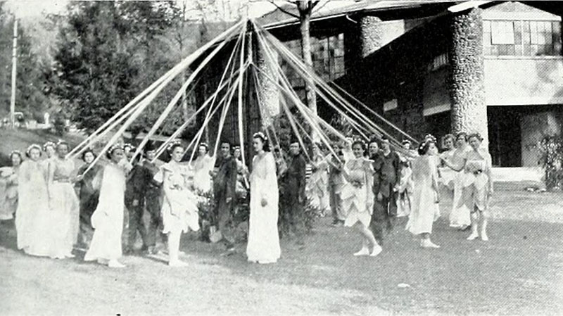 May pole dancers at Montreat College would weave over and under each other until the ribbons were tightly braided around the May Pole. From the 1936 edition of The Sundial.