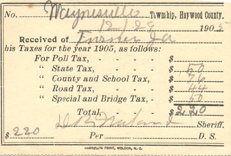 J.A. Turner Tax Bill, 1905