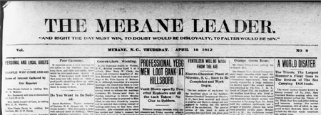 The Sinking of the Titanic as Reported in Mebane, N.C.