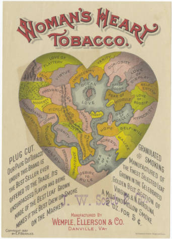 1887 Advertisement for Woman's Heart Tobacco