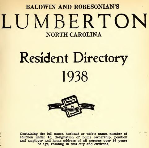 Directory from North Carolina Collection, UNC-Chapel Hill