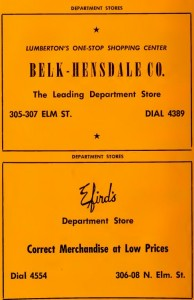 Ads from the 1956 City Directory.  Courtesy of the North Carolina Collection, UNC-Chapel Hill.