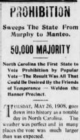 Prohibition Headline from Roanoke News on May 28, 1908