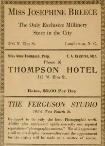 Ads in the 1916 City Directory. Courtesy of the North Carolina Collection, UNC-Chapel Hill.