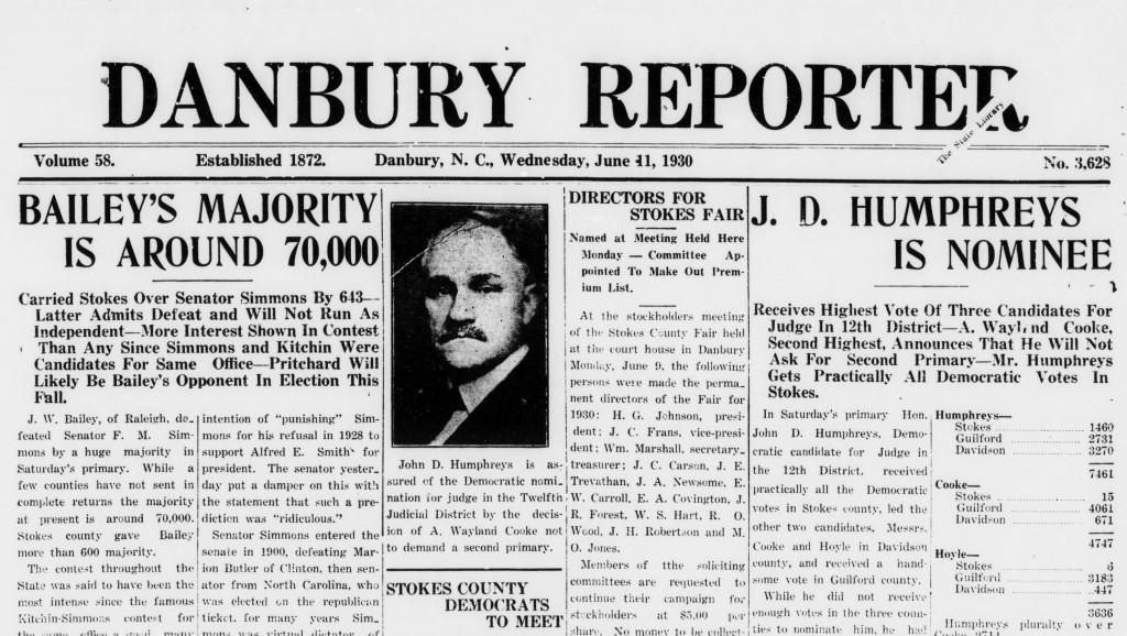 Danbury Reporter Masthead 1930-06-11