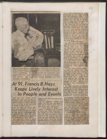 Article about Mr. Francis B. Hays in Oxford and Granville Men & Women, vol. 7