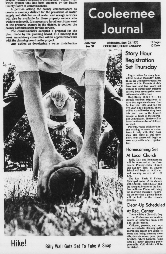 Front page, Cooleemee Journal, September 23, 1970