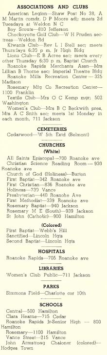 Directory of local facilities in town from the 1938 Roanoke Rapids City Directory