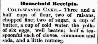 Cold Water Cake Recipe, Chatham Record, 10-10-1878