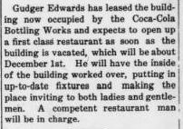 Restaurant news in October 9, 1919 Forest City Courier