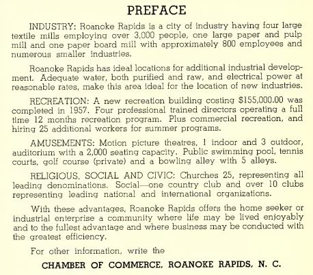Information about facilities in town from the 1958 city directory