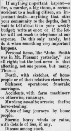 Appeal from Asheboro  Courier editors to citizens for news items in 1903