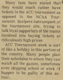 The columnist from the Clarion, Brevard's student newspaper, in 1979 describing the tournament atmosphere in NC much as one finds it today.