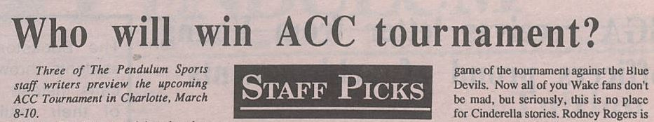 Elon's The Pendulum staff publishes their ACC picks in 1991.
