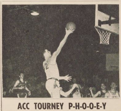 "Headline for an article from Louisberg College's ""Columns"" student newspaper in 1964, arguing the ACC tournament does not properly reward the best team in the ACC."