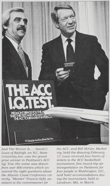 The airlines got in on the ACC fun too. This photograph from Piedmont Airlines' company paper shows the winner of their ACC trivia contest, with a prize of roundtrip tickets to the tournament in 1981.