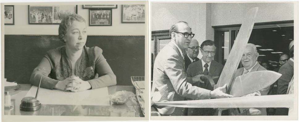 Miss Mary Godfrey at her desk and Congressman L.H. Fountain (center) at Belk-Tyler's ribbon cutting.