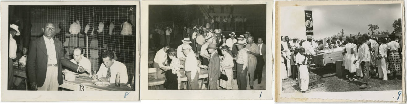 Annual Meeting for Edgecombe County Bureau at the Baseball Field. August 24, 1946. (left and center). People at the Baseball Field during a 4-H Club Event, surrounding the Coca-Cola crates. (right)