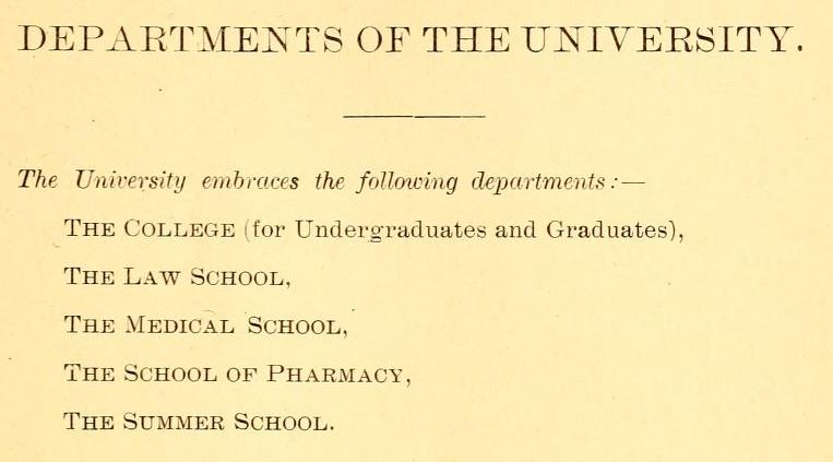 Departments at UNC-Chapel Hill in 1896