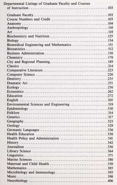 A portion of the departments offering classes for the Graduate School in 1986.
