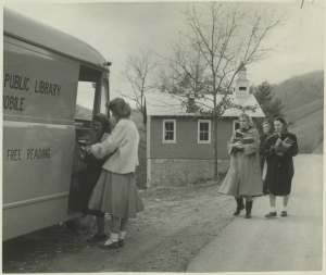 Patrons visiting the Madison County Bookmobile