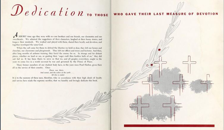 Dedication page to those killed in World War II from High Point High School, from the 1945 Pemican