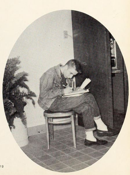 Student studying at Southern High School in Graham, NC.  From the 1961 Southerner yearbook