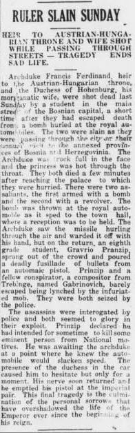 July 2 notice of the Archduke's assassination from The Courier.