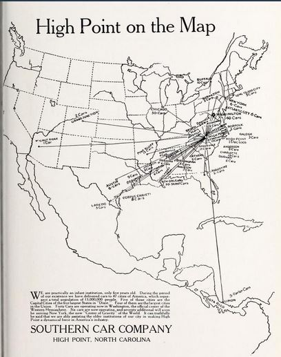 High Point on the Map, advertisement from the 1916 Atelier yearbook, High Point High School