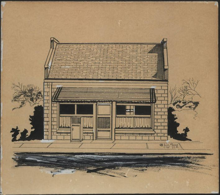 Douglas W. Brooks Library building, before it was converted into a library. Drawn by Jim Reese, 1977.