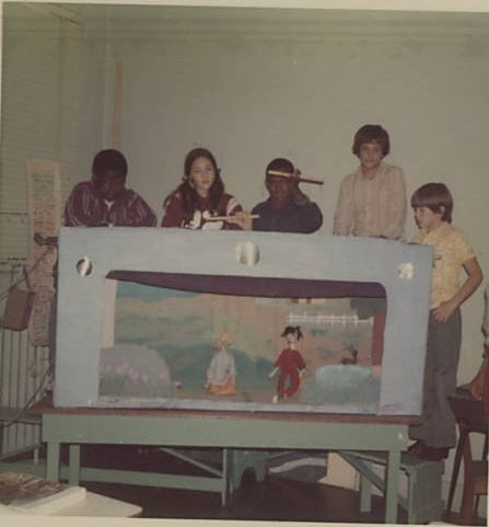 Sixth graders performing with puppets they built, November 1973.