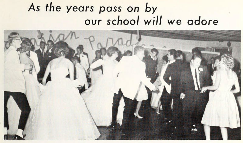 Photo of a school dance, from the Yadkinian Yearbook, 1964