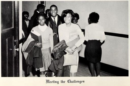 Students at Richard B. Harrison High School on their way to class in 1966.