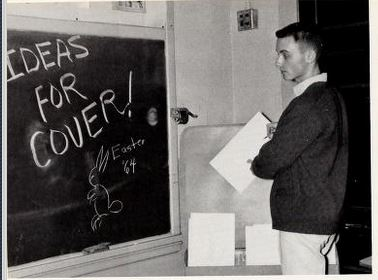 Planning the cover of Smithfield High School's newspaper, 1964