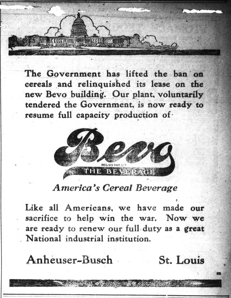 Bevo Advertisement, Alamance Gleaner 19190227